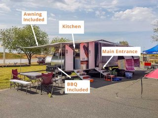 Set up with kitchen awning